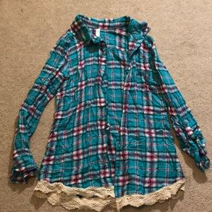 Blue and pink plaid flannel